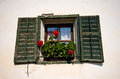 Italian home in Tirol window detail Royalty Free Stock Photo