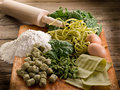 Italian homemade spinach pasta Stock Photo