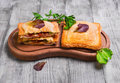 Italian hot crispy toasted panini sandwiches Royalty Free Stock Photo