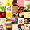Italian ice cream and dessert collage Royalty Free Stock Photo