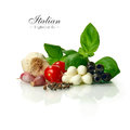 Italian ingredients bright and sharply focused selection of fresh food against a white background copy space Royalty Free Stock Images