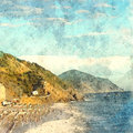 Italian landscape. Beach, sea and mountains. Watercolor. Oil painting style.