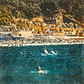 Italian landscape. Beach and swimming people in the sea. Watercolor. Oil painting style.