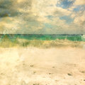 Italian landscape. Beautiful waves on the beach. Watercolor. Oil painting style.