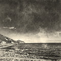 Italian landscape. Black and white. Sea and sky. Watercolor. Oil painting style.