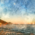 Italian landscape. Blue sky, mountain and sea. Watercolor. Oil painting style.
