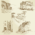 Italian landscape hand drawn set Stock Image