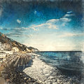 Italian landscape. Light waves on the beach. Blue sky with clouds and sea. Watercolor. Oil painting style.