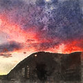 Italian landscape. Mountain and sunset. Watercolor. Oil painting style.