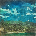Italian landscape. Mountains with green forest. Blue sky and clouds Watercolor. Oil painting style.