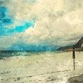 Italian landscape. Paradise beach. Watercolor. Oil painting style.