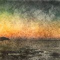 Italian landscape. Sea and gold sky. Watercolor. Oil painting style.