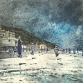 Italian landscape. Storm on the beach. Watercolor. Oil painting style.
