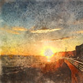 Italian landscape. Sunset over the sea. Watercolor. Oil painting style.