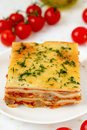 Italian lasagna with meat and tomatoes macro Royalty Free Stock Photography