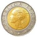 500 italian lira coin Royalty Free Stock Photo