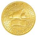 200 italian lira coin Royalty Free Stock Photo