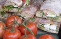 Italian lunch typical of ciabatta bread with mozzarella basil and tomato Stock Photos