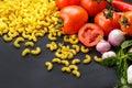 Italian macaroni pasta ingredients Royalty Free Stock Photo