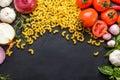 Italian macaroni with sauces ingredients Royalty Free Stock Photo
