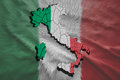 Italian map of italy in national flag colors Royalty Free Stock Photography
