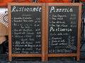 Italian menu Stock Photography