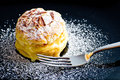 Italian Millefoglie pastry with custard on black dish Royalty Free Stock Photos
