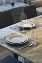 Italian Modern Model House : Dinning Area Detail Royalty Free Stock Photo