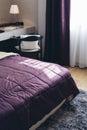 Italian Modern Model House : Purple Blanket Detail in Bedroom Royalty Free Stock Photo