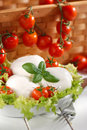 Italian mozzarella cheese with cherry tomato and basil Stock Photo