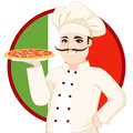 Italian mustache pizza chef with funny big holding pepperoni in front of flag Stock Photos