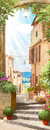 Italian old balcony with flowers pot Royalty Free Stock Photo