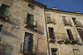 Italian old houses facades of buildings with balconies Stock Image