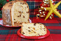 Italian Panettone Cake in Christmas setting. Royalty Free Stock Images