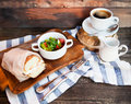 Italian panini sandwich with cheese and bacon, fresh salad and c Royalty Free Stock Photo