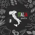 Italian pasta, background with hand drawn pasta and map of Italia, Italy