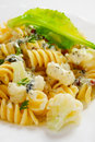 Italian pasta with cauliflower and cheese sauce Royalty Free Stock Photo