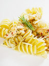 Italian pasta with chicken meat and grated cheese Royalty Free Stock Image