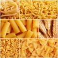 Italian pasta collage made from six photography Royalty Free Stock Image