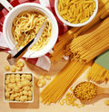 Italian pasta different types of Royalty Free Stock Images