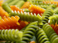 Italian pasta fusilli red and green 3 Stock Photos