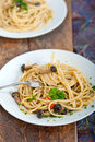 Italian pasta and mushroom sauce Royalty Free Stock Photography
