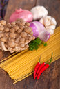 Italian pasta and mushroom sauce ingredients Stock Image