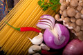 Italian pasta and mushroom sauce ingredients Royalty Free Stock Photo