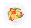 Italian pasta with parsley and arugula. Royalty Free Stock Photo