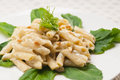 Italian pasta penne gorgonzola and pine nuts Royalty Free Stock Photos
