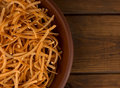 Italian pasta on a plate on the table Royalty Free Stock Photo