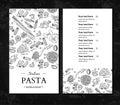Italian pasta restaurant vector menu. Hand drawn engraved banner. Great for banner, flyer, card,
