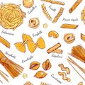 Italian Pasta seamless pattern Different types of pasta. Vector hand drawn illustration.  objects on white. Colorful. Royalty Free Stock Photo
