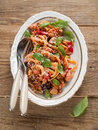 Italian pasta spaghetti with chicken and vegetable selective focus Royalty Free Stock Image